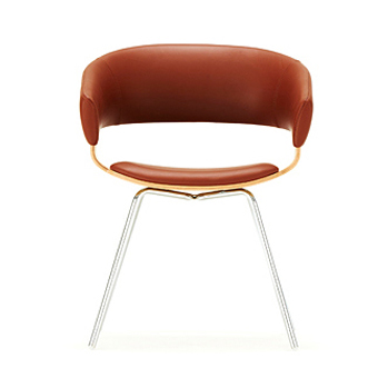 Leather Chair with Wooden Shell