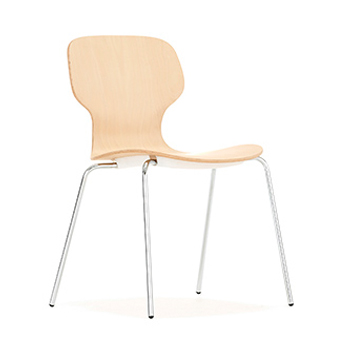 Chair with beech shell and silver frame