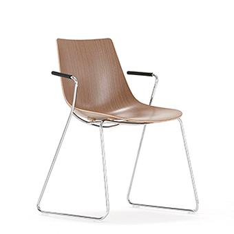 Wood chair on skid frame