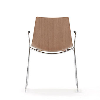 Wood chair on skid frame