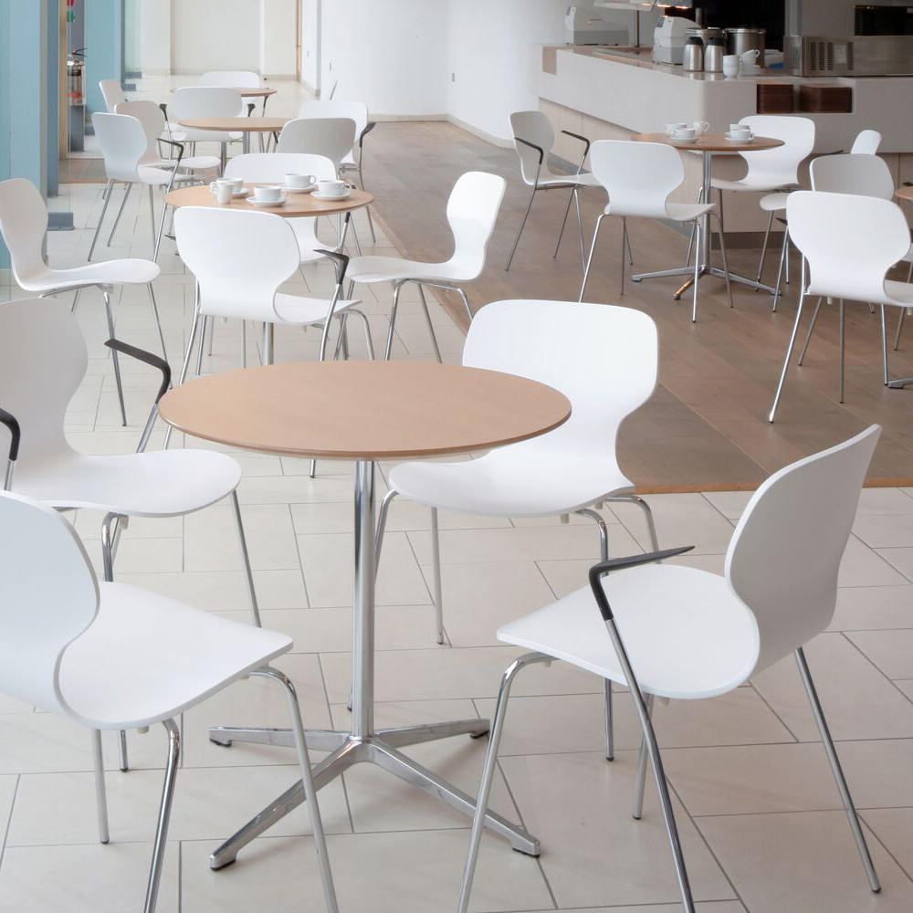 White chairs with wooden table