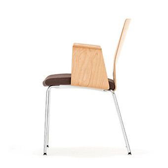 Chair with Wood Back and brown fabric seat