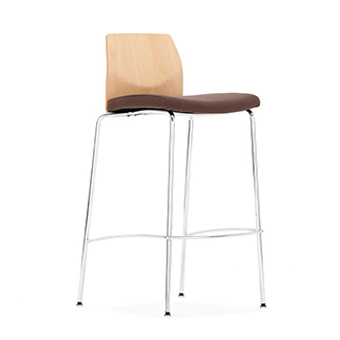 Stool with Wood Back and brown fabric seat
