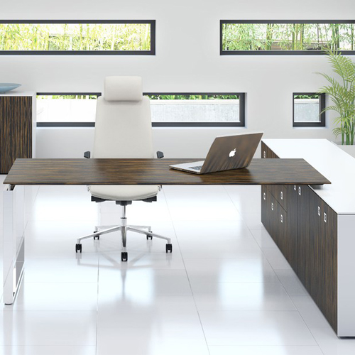 Etonnant Fulcrum Executive Desk With Attached Storage Layout 1 On Box Base   DBI  Furniture Solutions