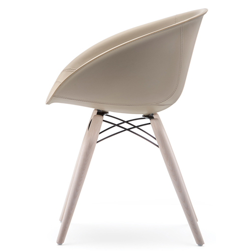 904/F Gliss 4 Leg Chair With Upholstered Leather Shell