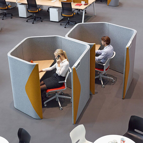 Grey and yellow office pod