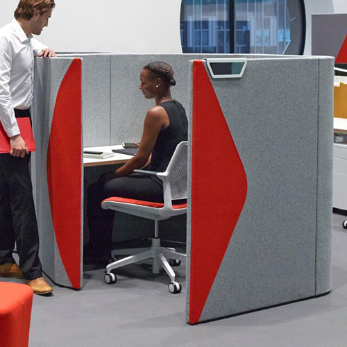 Grey and red office pod