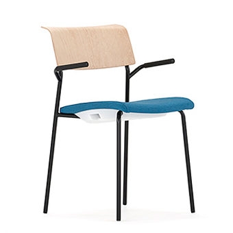 LP11A Lip Chair With Upholstered Square Seat And Cantilever Arms